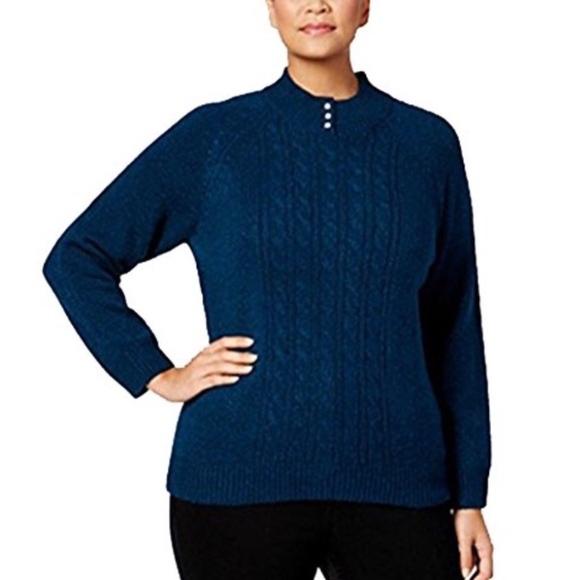 XL M KAREN SCOTT Women New $46 Green Mock Neck Long Sleeve Cable Sweater S L